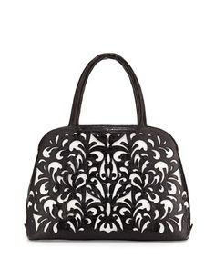 Cutout-Overlay Medium Crocodile Satchel Bag, Black/White Matte by Nancy Gonzalez at Bergdorf Goodman.