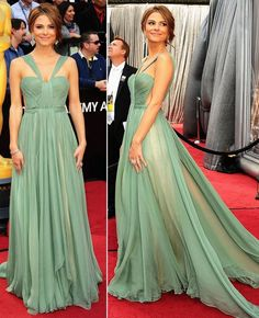 maria lucia hohan minty chiffon dress - maria menounos wearing it at the oscar 2012 red carpet arrivals