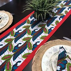 This beautifully vibrant table runners will make any space feel alive! All the colors and designs are sure to bring a little bit of Africa to any space. Excellent choice for table decor for an African theme party.Description:Print part made w. African Theme, African Accessories, African Home Decor, Red Fabric, African Fabric, Event Decor, All The Colors, Table Runners, Decorative Items