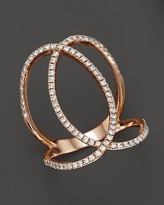Djula Jewelry 18K Rose Gold Eclipse Diamond Double Ring, .51 ct. t.w. | Bloomingdale's