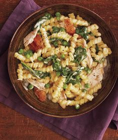 Use a rotisserie chicken in this quick one-pot dish to cut down on prep time. Get the recipe for Creamy Chicken and Spinach Pasta .