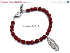 SALE Red Coral Bracelet With Silver Feather  by TwoFeathersJewelry, $24.26