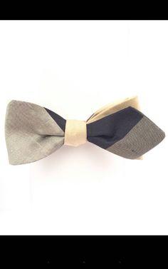 2b508aae0f7e BOW TIE Black and taupe silk self-tie adjustable diamond tip bow tie