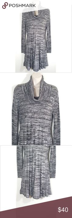 "Calvin Klein Gray Marled Knit Sweater Dress Calvin Klein Women Size Large L Gray Marled Knit Pullover Sweater Dress  Gently used, no flaws. - Stretch - Cowl Neckline  Size Large L (Approx. measurements laying flat) Shoulder to shoulder: 17.5"" Pit to pit: 17"" Length: 37"" Sleeve length: 26.75"" Waist: 15"" Hip: 23""  SKU 0818/20/CLE Calvin Klein Dresses"