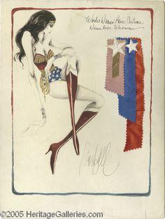 "Original ""Wonder Woman"" costumes design sketch by Donfeld for the ""Wonder Woman"" ABC/CBS TV series, 1976-1979"