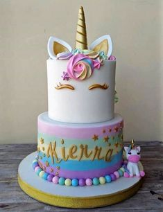 unicorn cake - Vali's birthday cake ideas - Unicorn Themed Birthday Party, Cool Birthday Cakes, Birthday Cake Girls, Unicorn Party, 5th Birthday, Unicorn Birthday Cakes, Birthday Ideas, Rainbow Unicorn, Unicorn Foods