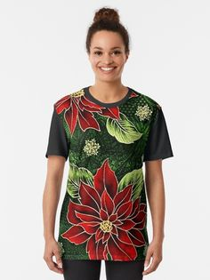 """""""Red & Green Christmas Floral"""" T-shirt by HavenDesign 