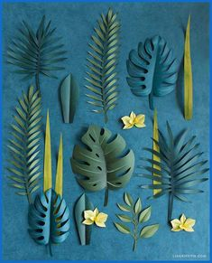 a simple tutorial to make a gorgeous DIY tropical wreath complete with palm leaves, monstera and orchid blooms. Once you trim and color all your botanical - DIY and Crafts Paper Flowers Diy, Flower Crafts, Diy Paper, Paper Crafting, Paper Art, Origami Flowers, Tissue Paper, Origami Leaves, Origami Paper