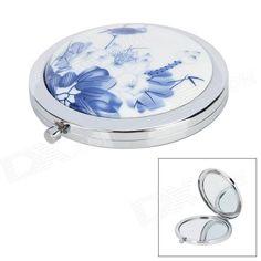 Retro Chinese Lotus Wash Painting Pattern Ceramic Detail Pocket Mirror - White + Blue Painting Patterns, Lotus, Chinese, Cosmetics, Ceramics, Pocket, Mirror, Detail, Retro