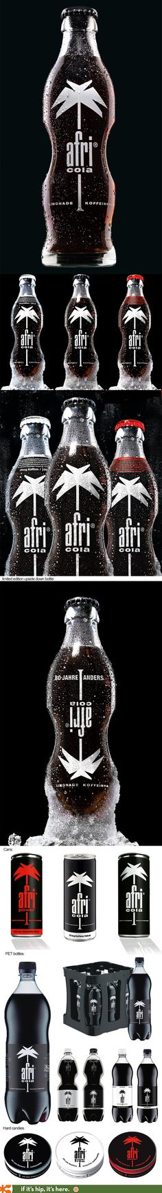 Afri Cola's ergonomic bottles, plastic bottles, bonbons and special limited edition upside down bottle design.