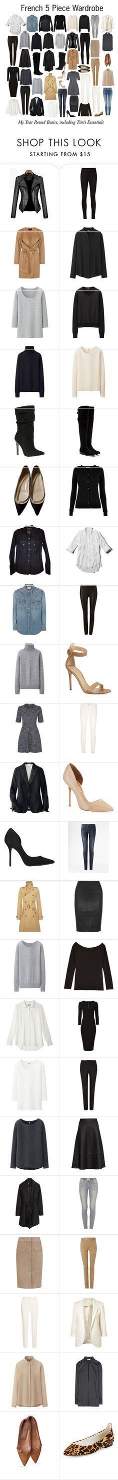 """""""French 5 Piece Wardrobe - Basics"""" by charlotte-mcfarlane ❤ liked on Polyvore featuring J Brand, Jaeger, Uniqlo, ALDO, Dolce&Gabbana, Christian Louboutin, Oasis, J.Crew, Abercrombie & Fitch and Yves Saint Laurent"""