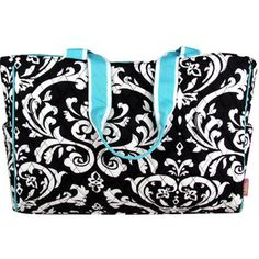 $15.50 Quilted Damask Diaper Bag with Turquoise Trim