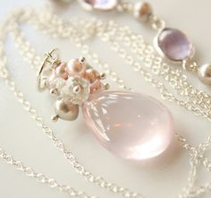 Flawless Rose Quartz Cluster Necklace with Pearls - Sterling Silver (So pretty)