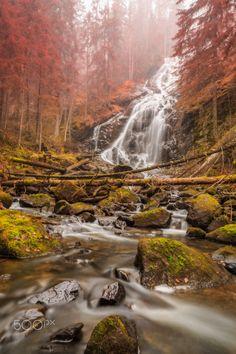 autumn down, by Geert Weggen..   #autumn15 #beam #birch #fall  #ground #landscape #mist #nature #path #reflect #river #road #rock #shadow #sun #sweden #tree #water #waterfall