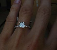 thin band, asscher cut diamond-- OBSESSED with that THIN beautiful band to accent that great cut.