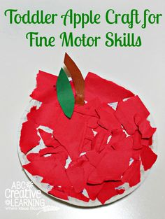 Torn paper apple craft for toddlers from ABC Creative Learning