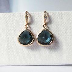 navy and gold earrings, deep blue earrings, deep navy earrings, drop earrings, dangle earrings, prom wedding and bridesmaids earrings