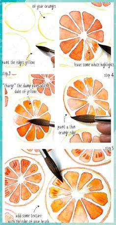 Aquarell orangen muster tutorial aquarell muster orangen paintingartideas patterns and starter pages Watercolor Paintings For Beginners, Watercolour Tutorials, Watercolor Techniques, Watercolour Painting, Painting & Drawing, Tattoo Watercolor, Watercolor Trees, Abstract Watercolor, Watercolor Landscape