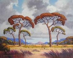 """Bushveld Morning Cloudy Sky (Pierneef Style)"" African Tree, Landscape Structure, Bonsai Art, South African Artists, Tree Illustration, Parasol, Game Reserve, Photo Tree, African History"