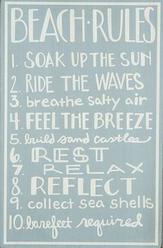 Ocean Blue Wooden Beach Rules Sign