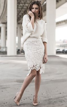 How to Wear Your Spring Clothes When it Still Feels like Winter Lace Outfit, Lace Dress, Lace Skirt Outfits, Denim Skirt, Dress Shoes, Flared Skirt, White Lace Skirt, White Lace Tops, Cream Lace Skirt