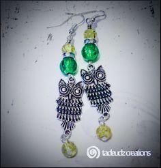 Beaded Dropper Owl Earrings by TadeudzCreations on Etsy
