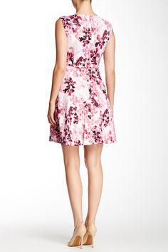 Printed Fit & Flair Scuba Dress by Tahari on @nordstrom_rack