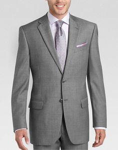 Joseph Abboud Gray Sharkskin Modern Fit Suit Separate Coat