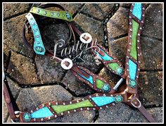 Custom order turquoise/lime tack set with matching wither strap and saddle cross