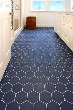 Hex tile for your flooring. Bathroom Tile Designs, Bathroom Floor Tiles, Bathroom Renos, Bathroom Renovations, Blue Tile Bathrooms, Beach Bathrooms, Bathroom Ideas, Floating Vinyl Flooring, Cheap Wood Flooring