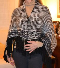 Hand Woven acrylic ivory and black  Wide Wrap Shawl by Cozyyarn, $120.00