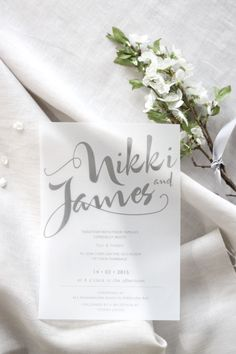 Wedding Invitation and Wedding Stationery Design by Just My Type NZ} White and Grey modern wedding