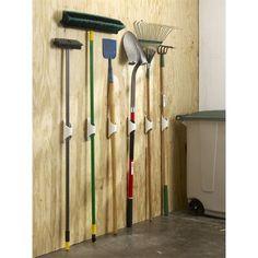 Garden shed organization pvc tool holder extreme mounting tape today Storage Shed Organization, Garage Organisation, Garage Tool Storage, Garage Tools, Storage Hacks, Storage Ideas, Organizing, Kayak Storage, Storage Shelves
