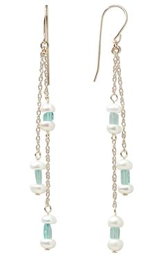 long pearl and bead earrings #jewelry