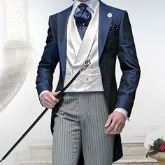 Latest Coat Pant Designs Navy Blue Satin Tailcoat Double Breasted Italian Custom Wedding Suits For Men 3 Pieces Groom Terno Black Suit Wedding, Wedding Tux, Morning Suits, Morning Dress, Marcel, Navy Blue Groom, Design Bleu, Dinner Wear, Vest And Tie