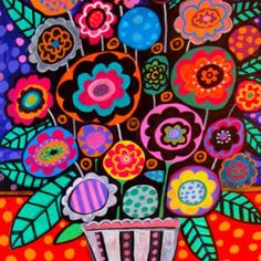 Abstract Flowers Colorful Flowers Folk Art Print