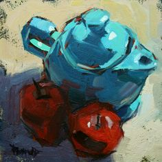 Cathleen Rehfeld • Daily Painting: Turquoise Fiestaware Tea Pot and Apples in the Shadow
