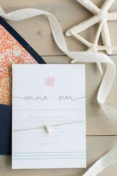 ocean invitation suite with seashells | Heidi Calma Photography: http://heidicalma.com