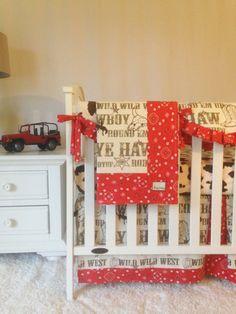 Cowboy, Red Bandana, and Cow Minky Crib Bedding by RitzyBabyOriginal