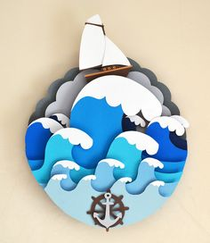 Ship in the waves. €35.00, via Etsy.