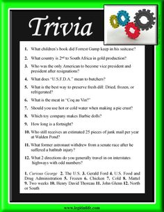 Trivia - Simple trivia questions to get you thinking. How much do you really know?: