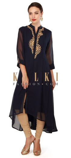 Buy Now Navy blue kurti adorn in resham and kundan placket only on Kalki