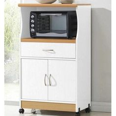 Attirant Microwave Stand Utility Cart With Wheels Storage Drawers Mobile Kitchen  Office