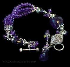 Amethyst, Sterling and Fine Silver Bracelet with Peridot  One of a Kind and Handmade by A. Denise Rollings-Martin  http://www.etsy.com/listing/177214877/amethyst-sterling-and-fine-silver  165.00