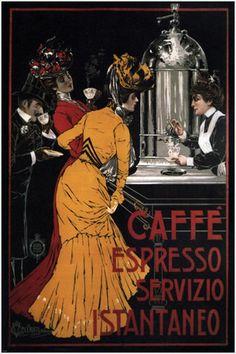 Caffe Espresso ~ Fine-Art Print - Vintage Coffee Art Prints and Posters - Vintage Advertisements Pictures Café Vintage, Vintage Coffee, Vintage Prints, Decor Vintage, Design Vintage, Table Vintage, Vintage Food, Bedroom Vintage, Vintage Labels