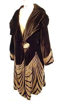 AntiqueDress.com - Museum items for Sale- c. 1920's Rue de la Paix, Paris  Black Velvet, Gold Bead Evening Coat #3312
