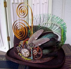 Steampunk Hat Pin (HP504) - Hat Adornment - Silver Plated Feathers - Peacock Plumes - Glittered and Brass Gears - Pocket Watch and Key