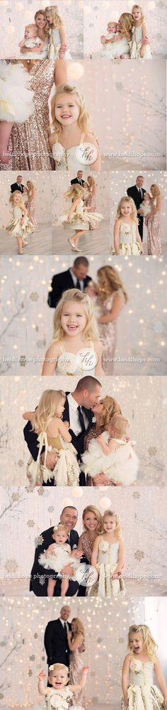 holiday family portraits with lights indoors in studio love the outfits!