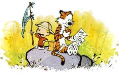 "Bill Watterson, ""Calvin and Hobbes"", 1985–95, a cartoon of Calvin and his friend Hobbes in pursuit of adventure and treasure."