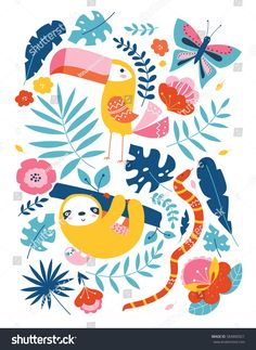 Vector clip art tropical illustration with cute animal characters, toucan, sloth, snake, butterfly